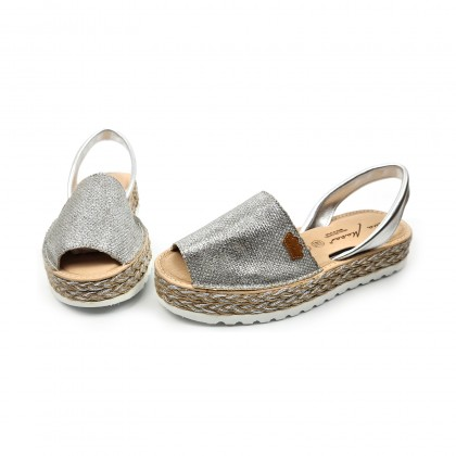 Woman Leather and Metallic Sackcloth Menorcan Sandals Platform Cushioned Insole 1254 Silver, by Eva Mañas