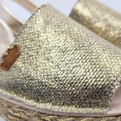 Avarcas Menorquinas Mujer Piel Y Saco Metalizado Plataforma Plantilla Acolchada 1254 Platino, de Eva Mañas
