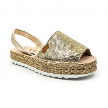Woman Leather and Metallic Sackcloth Menorcan Sandals Platform Padded Insole 1254 Platinum, by Eva Mañas