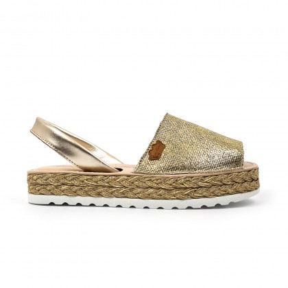 Woman Leather and Metallic Sackcloth Menorcan Sandals Platform Cushioned Insole 1254 Platinum, by Eva Mañas