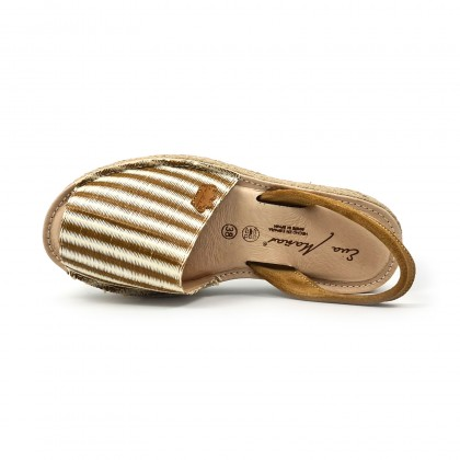 Woman Leather and Raffia Menorcan Sandals Platform Cushioned Insole 1255 Leather, by Eva Mañas