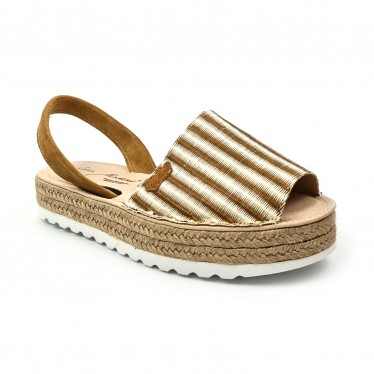 Woman Leather and Raffia Menorcan Sandals Platform Padded Insole 1255 Leather, by Eva Mañas