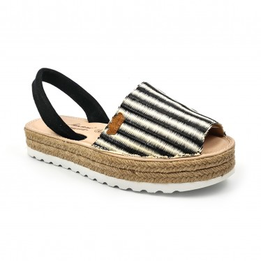 Woman Leather and Raffia Menorcan Sandals Platform Padded Insole 1255 Black, by Eva Mañas