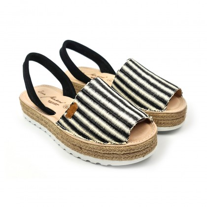 Woman Leather and Raffia Menorcan Sandals Platform Cushioned Insole 1255 Black, by Eva Mañas