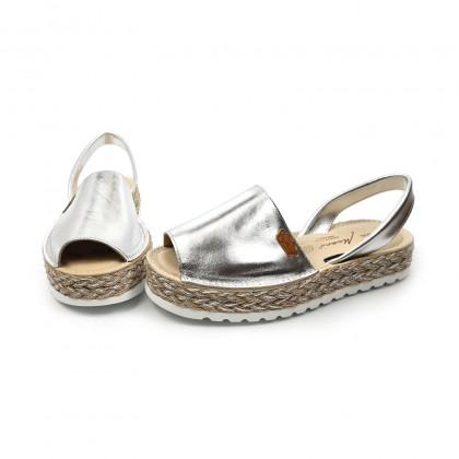 Woman Metallic Leather Menorcan Sandals Platform Padded Insole 1256 Silver, by Eva Mañas