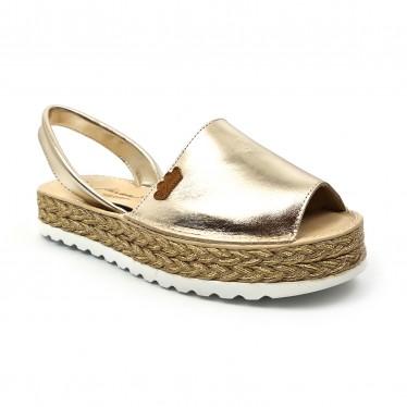 Woman Metallic Leather Menorcan Sandals Platform Padded Insole 1256 Platinum, by Eva Mañas