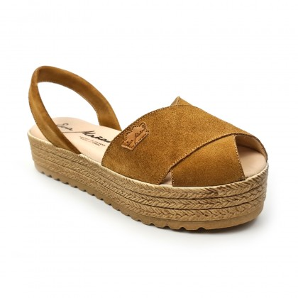 Woman Suede Leather Crossed Menorcan Sandals Platform Padded Insole 1257 Leather, by Eva Mañas