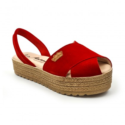Woman Suede Leather Crossed Menorcan Sandals Platform Padded Insole 1257 Red, by Eva Mañas