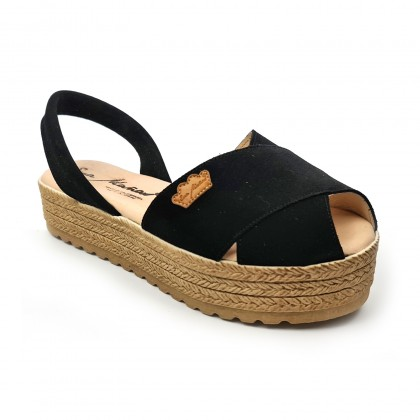 Woman Suede Leather Crossed Menorcan Sandals Platform Padded Insole 1257 Black, by Eva Mañas