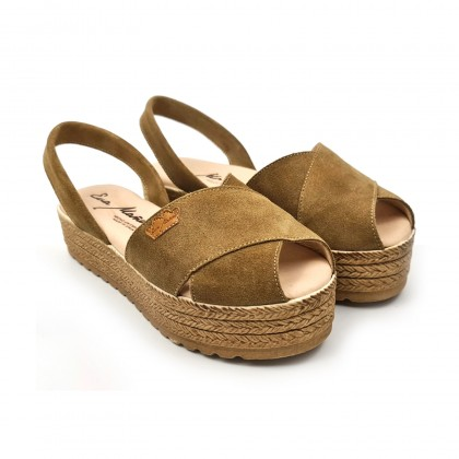 Woman Suede Leather Crossed Menorcan Sandals Platform Padded Insole 1257 Taupe, by Eva Mañas