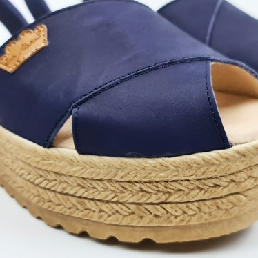 Woman Suede Leather Crossed Menorcan Sandals Platform Padded Insole 1257 Navy Blue, by Eva Mañas