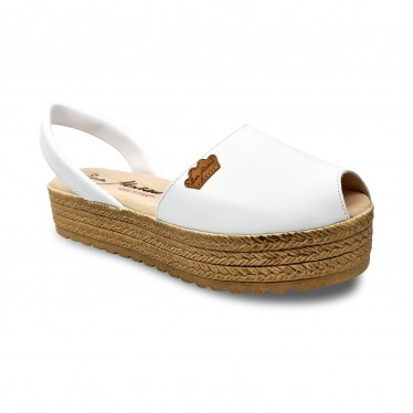 Woman Leather Menorcan Sandals Platform Padded Insole 1258 White, by Eva Mañas