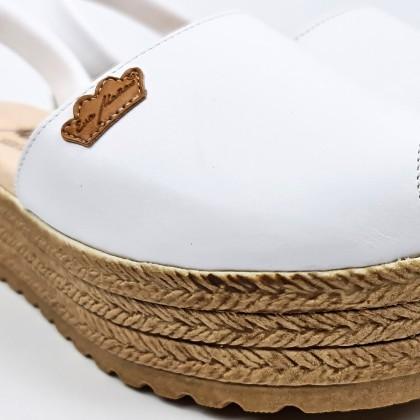 Avarcas Menorquinas Mujer Piel Plataforma Plantilla Acolchada 1258 Blanco, de Eva Mañas