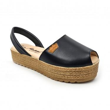 Woman Leather Menorcan Sandals Platform Padded Insole 1258 Black, by Eva Mañas