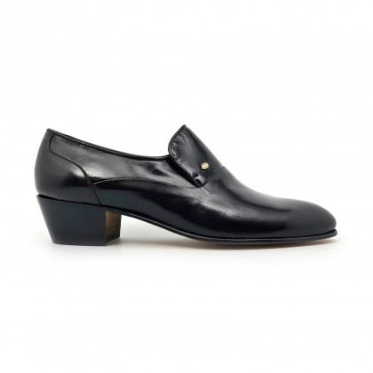 Man Leather Cuban Heel Shoes Leather Sole Leather Linning 3021 Black, by Donattelli