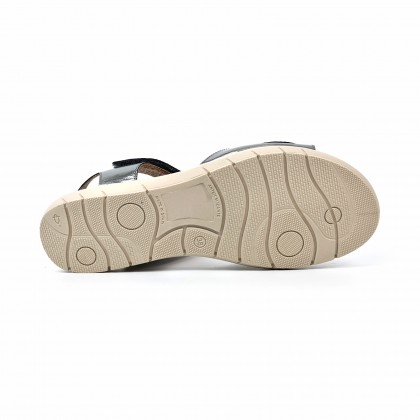 Woman Low Wedged Leather Sandals Velcro Padded Insole 108 Lead, by Amelie