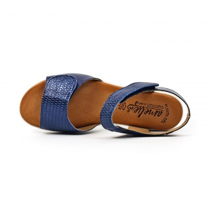 Woman Low Wedged Leather Sandals Velcro Padded Insole 108 Navy, by Amelie