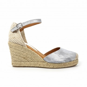 Woman Leather Wedged Espadrilles Padded Insole 303 White, by BluSandal