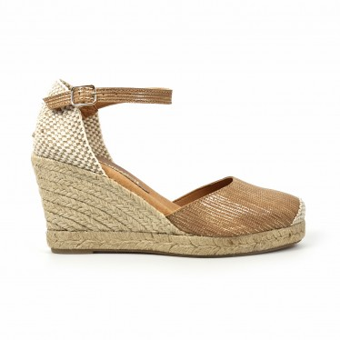 Woman Leather Wedged Espadrilles Padded Insole 303 Leather, by BluSandal