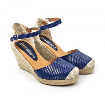 Woman Leather Wedged Espadrilles Padded Insole 303 Blue, by BluSandal