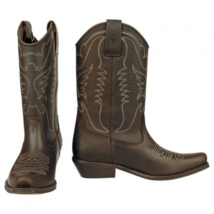 Men Biker Boots by Johnny Bulls SEV4730 BROWN SIDE