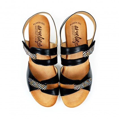 Woman Low Wedged Leather Sandals Velcro Padded Insole 855 Black, by Amelie