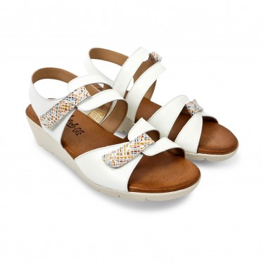 Woman Low Wedged Leather Sandals Velcro Padded Insole 855 White, by Amelie