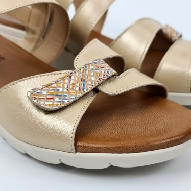 Woman Low Wedged Leather Sandals Velcro Padded Insole 855 Beige, by Amelie