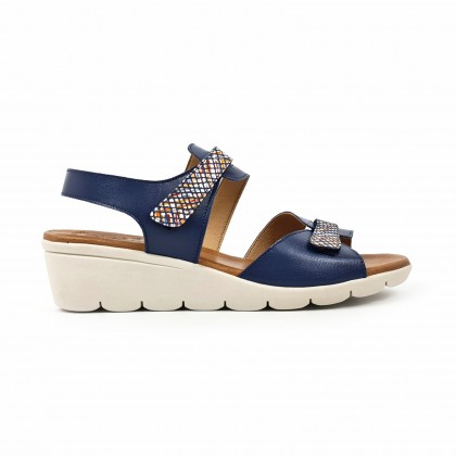 Woman Low Wedged Leather Sandals Velcro Padded Insole 855 Navy, by Amelie