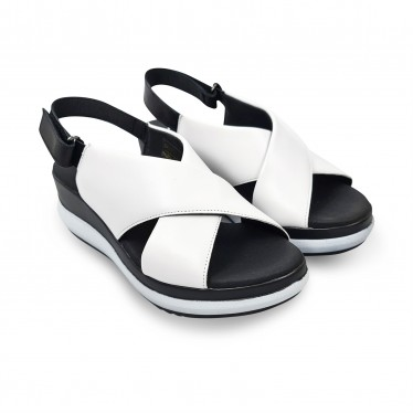 Woman Low Wedged Leather Sandals Velcro Padded Insole 7081 White, by TuPié