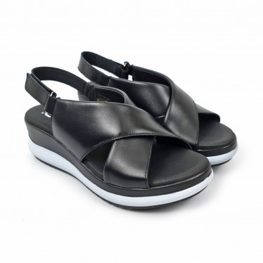 Woman Low Wedged Leather Sandals Velcro Padded Insole 7081 Black, by TuPié