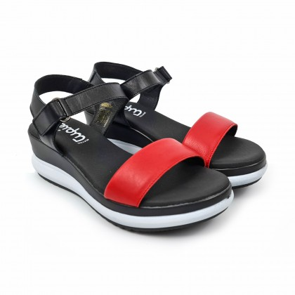 Woman Low Wedged Leather Sandals Velcro Padded Insole 7086 Red, by TuPié