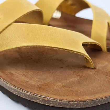 Sandalias Bio Mujer Piel Plantilla Acolchada 501 Amarillo, de Blusandal