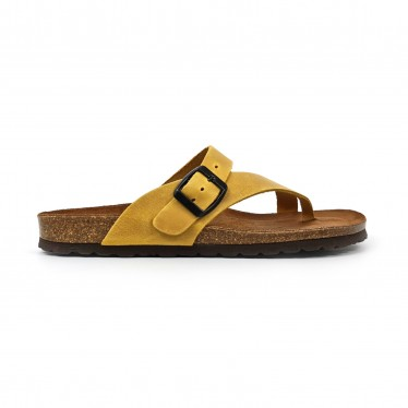Woman Leather Bio Sandals Padded Insole 501 Yellow, by BluSandal