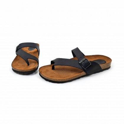 Woman Leather Bio Sandals Padded Insole 501 Black, by BluSandal