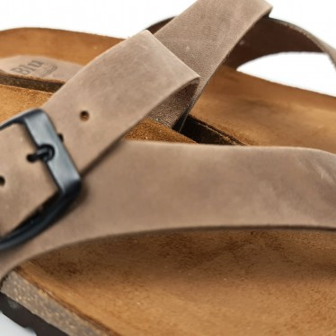 Woman Leather Bio Sandals Padded Insole 501 Taupe, by BluSandal