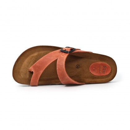 Woman Leather Bio Sandals Padded Insole 501 Red, by BluSandal