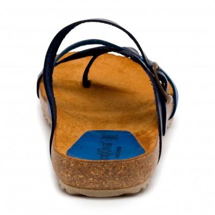 Sandalias Bio Mujer Piel Suela De Corcho 893 Azul, de Morxiva