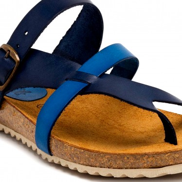 Woman Leather Bio Sandals Cork Sole 893 Blue, by Morxiva Shoes