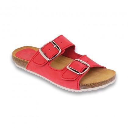 Woman Leather Bio Sandals Cork Sole Padded Insole 896 Rojo, by BlueSandal