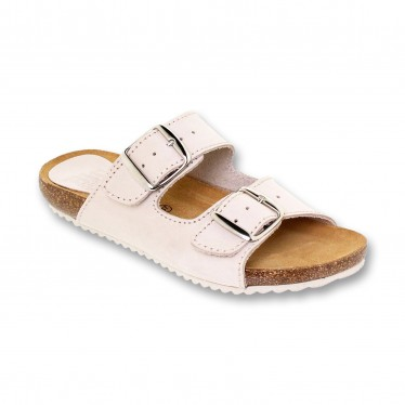Woman Leather Bio Sandals Cork Sole Padded Insole 896 Sand, by BluSandal
