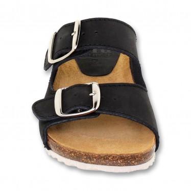 Woman Leather Bio Sandals Cork Sole Padded Insole 896 Black, by BlueSandal