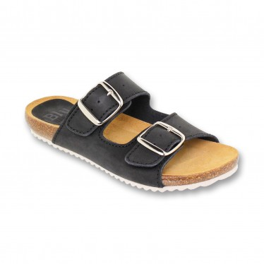Woman Leather Bio Sandals Cork Sole Padded Insole 896 Black, by BluSandal