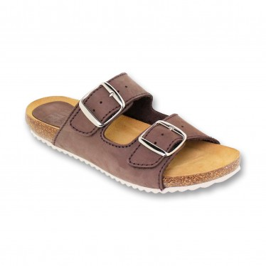 Woman Leather Bio Sandals Cork Sole Padded Insole 896 Brown, by BluSandal