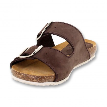 Woman Leather Bio Sandals Cork Sole Padded Insole 896 Brown, by BlueSandal