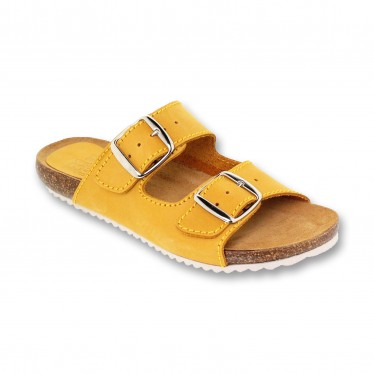 Woman Leather Bio Sandals Cork Sole Padded Insole 896 Yellow, by BluSandal