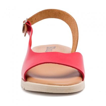 Sandalias Cuña Baja Mujer Piel Plantilla Acolchada 1115 Rojo, de Blusandal