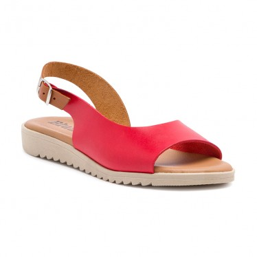 Woman Leather Low Wedged Sandals Padded Insole 1115 Red, by Blusandal