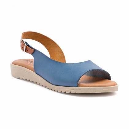 Woman Leather Low Wedged Sandals Padded Insole 1115 Blue, by Blusandal