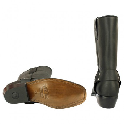 Men Biker Boots by Johnny Bulls 4829 BLACK SOLE